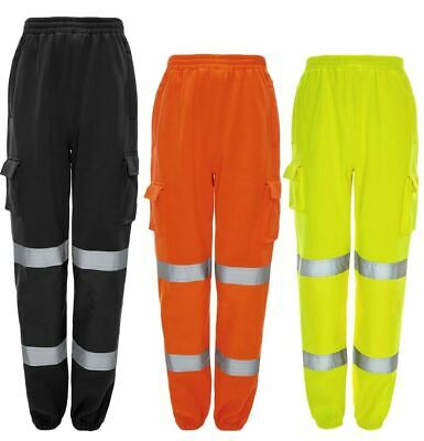 B-Seen High Visibility Jog Bottoms Jogging Cargo Trousers Work Pants Safety
