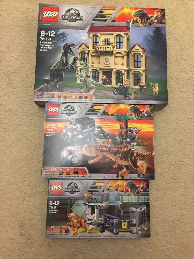 Lego Jurassic World Joblot Bundle New 75927 75929 75930 Carno Indoraptor Stygimo