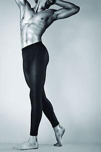 Noir Opaque Meggings Hommes Sous-Vêtement Sporty Style Leggins Épais 100 Den T44