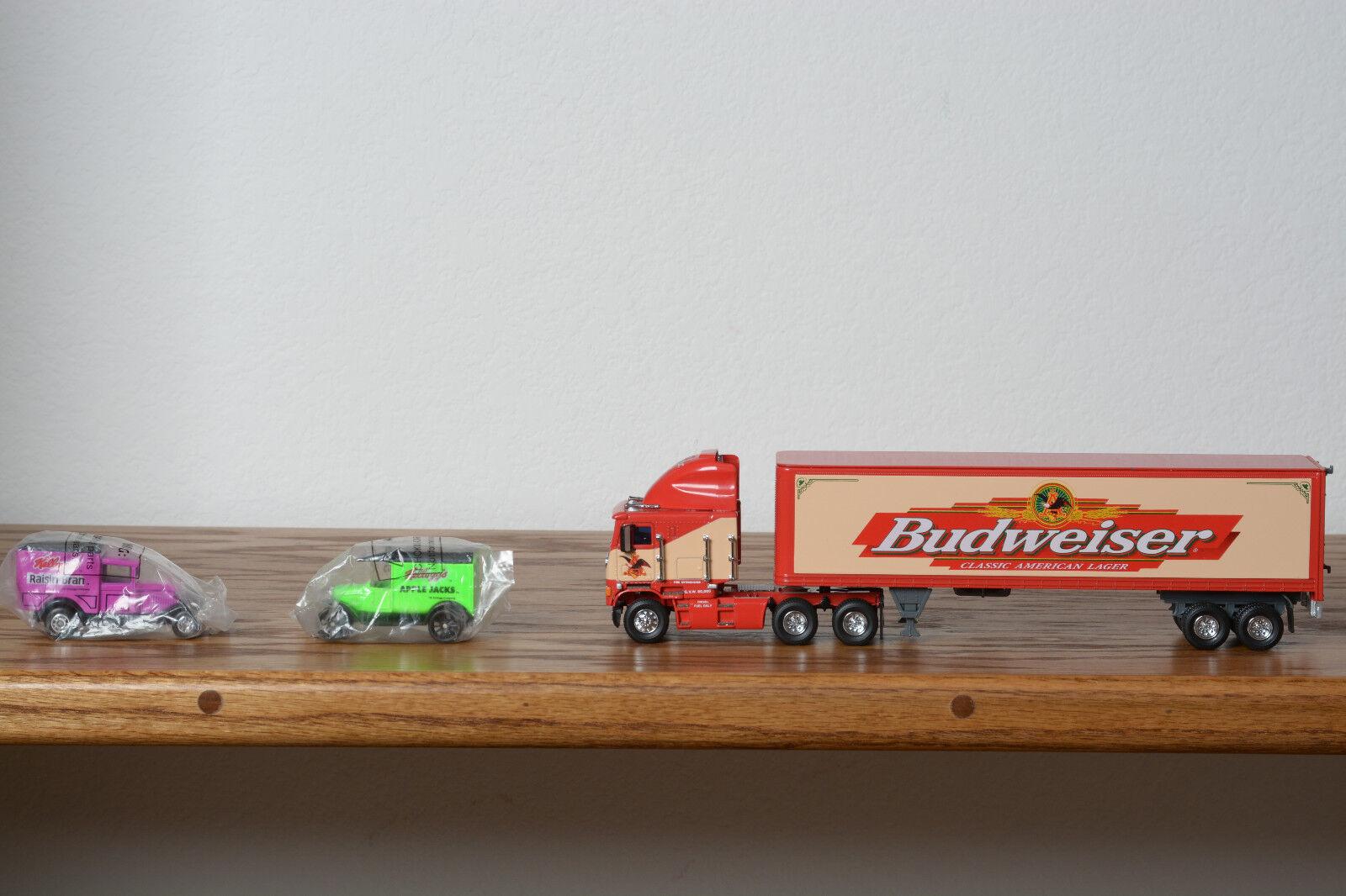 Matchbox Budweiser Semi Truck and 2 Kellogg Delivery Trucks