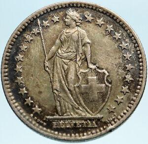 1944 SWITZERLAND - SILVER 2 Francs Coin HELVETIA Symbolizes SWISS Nation i82805