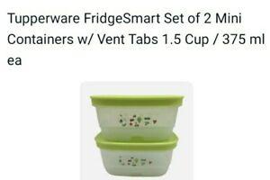 375 ml ea Tupperware FridgeSmart Set of 2 Mini Containers w// Vent Tabs 1.5 Cup