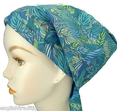 Beautiful Blue Alopecia Cancer Chemo Hat Hair Loss Cotton Scarf Turban Head Wrap