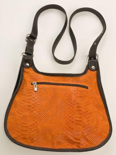 con tracolla Borsa in arancione Borsa Ital pelle tracolla vera di design a messenger tAxwOqa