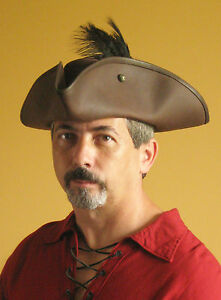 Medieval Celtic Pirate Hat Leather Renaissance SCA Larp Musketeer Hat