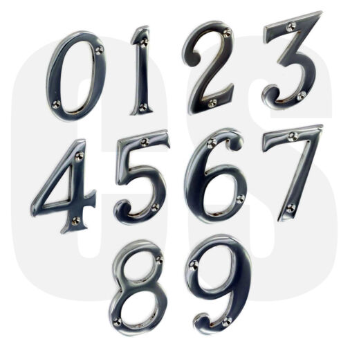 """New 3/"""" 75mm Chrome Front House Door Numerals Numbers"""