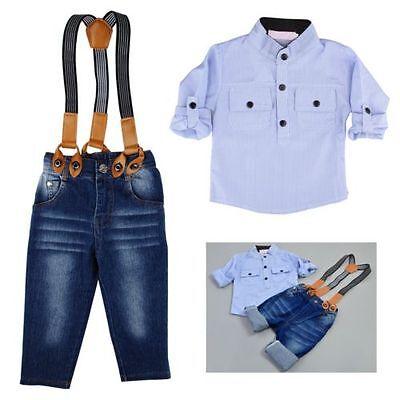 2PCS Kids Baby Boys Toddler T-shirt+Jeans Bib Pants Overalls Clothes Outfits Set