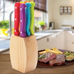 Set 6 Coltelli professionali da Bistecca con Ceppo Portacoltelli Cucina in Legno