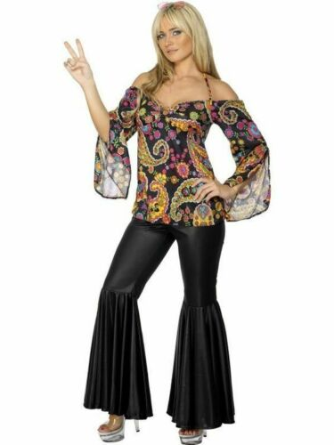 70/'s-80/'s Disco Pantsuit 2Pc Black//Multi Bell Bottom Pants /& Print Top Costume