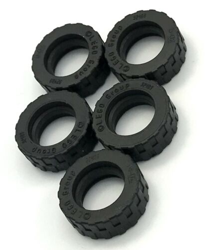 Lego Lot of 5 New Black Tire 17.5mm D x 6mm with Shallow Staggered Treads Parts