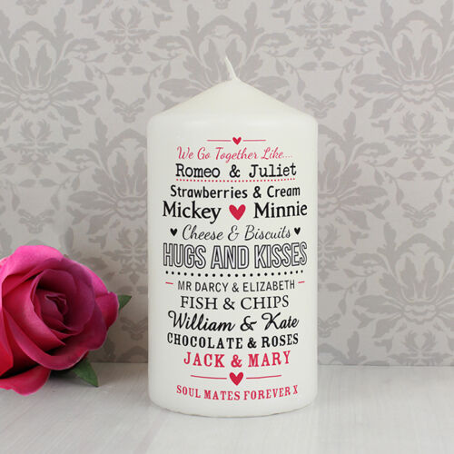 Valentines Day Engagement Personalised COUPLES Candle Gift Anniversary