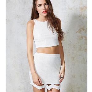 c38e4c9f89dca0 Ginger Fizz ASOS White Sequin Top OR Skirt Co Ord set White GF14439T ...