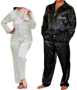 73c95ea207 Image is loading Personalised-Adult-Silky-Pyjamas-Wedding-Honeymoon-Bridal- PJs-