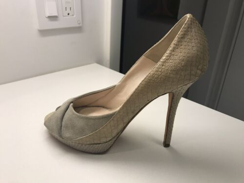 Christian Dior Gray Beige Snake Suede Leather Plat