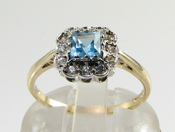 DAINTY 9K 9CT GOLD SWISS BLUE TOPAZ DIAMOND ART DECO INS RING FREE RESIZE
