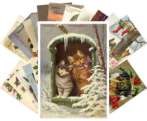 Postcards-Pack-24-cards-Vintage-Christmas-Cute-Animals-Cats-Dogs-Puppy-CH4016