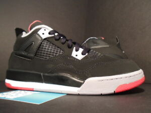 2503082dbe3d Kids Nike Air Jordan IV 4 Retro PS BLACK CEMENT GREY FIRE RED WHITE ...