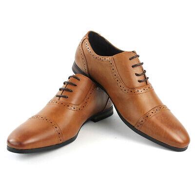 Men/'s Cognac Dress Shoes CapToe Detailed Lace Up Oxfords Leather Lining AZARMAN