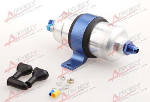 External Fuel Pump 044 For Bosch+Billet Bracket Blue+6AN Inlet 6AN Outlet Blue