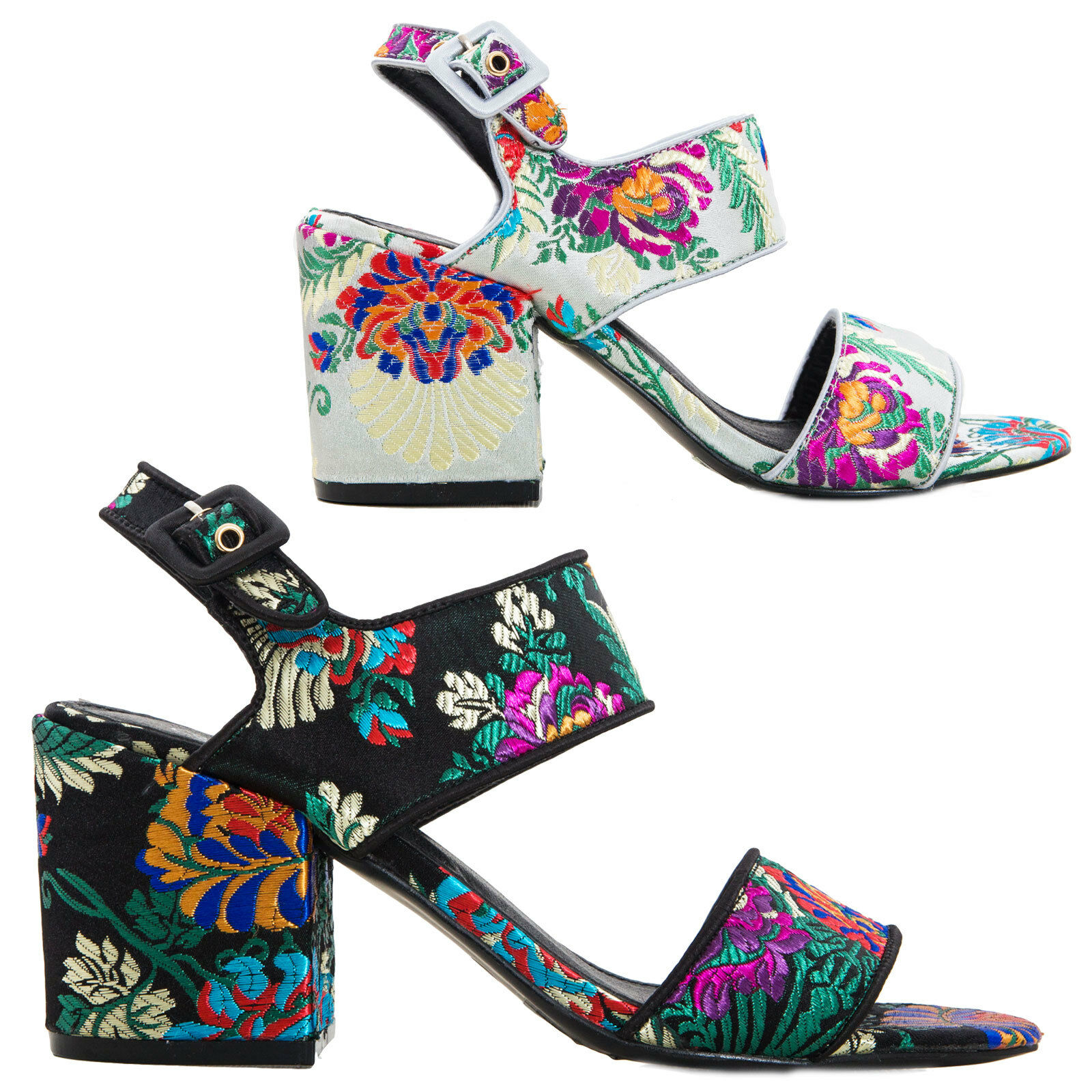Women's shoes sabot sandals embroidered tapestry heel large new HH6012