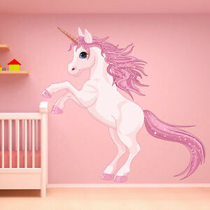 Unicorn wall sticker fantasy fairy tale wall decal girls for Unicorn bedroom decor