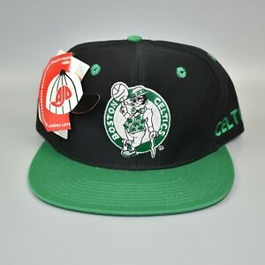 Boston-Celtics-AJD-Spell-Out-NBA-Vintage-90-039-s-Snapback-Cap-Hat-NWT