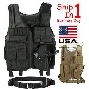 Tactical Vest Military Gun Holder Molle Police Airsoft Combat Assault Gear