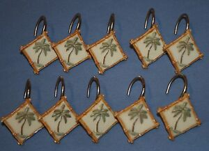LOT-10pcs-Bambu-PALMAS-Ducha-Cortina-Ganchos-Resina-Tropical