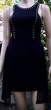 LOWKEY Black Gold Stud Draped Sides Sleeveless  Party Dress Size S BNWT