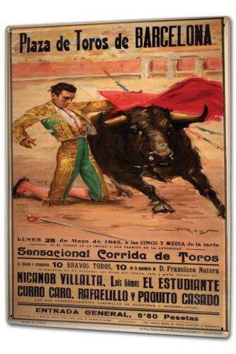 Tôle plaque xxl aventuriers Barcelone corrida Affiche toréador