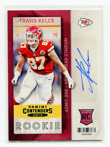 TRAVIS-KELCE-2013-Panini-Contenders-Variation-Rookie-Ticket-RC-Auto-SP-SSP-50