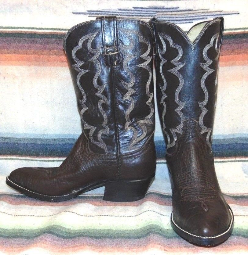 Uomo Vintage Cowtown Brown Bullhide / Pelle Handcrafted Cowboy Stivali 8 D New