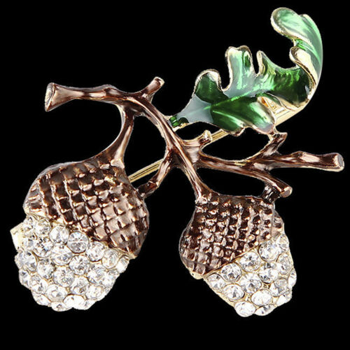 Nut Brooch Pin Rhinestone Crystal Cute Plant Brooch Pins Jewelry Gift Chic RAHN