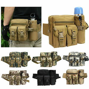 Men Sport Tactical Military Hiking Travel Water Bottle Belt Fanny Pack Waist Bag