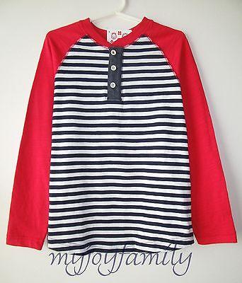 HANNA ANDERSSON Colorblock Henley Slub Tee Shirt Navy Red 140 10 NWT