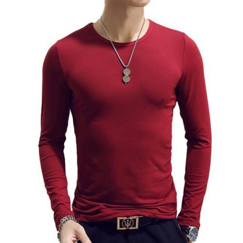 Multi Couleurs Hommes Loisirs Slim couleur unie à manches longues O//V Neck T-shirts Tops