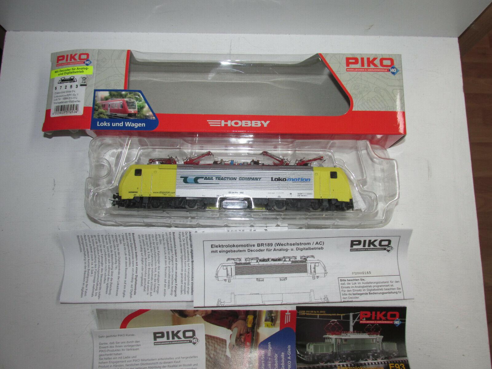 Piko 57253 Pista H0 ELokomotive il Rtc Bn ES64 F4002 AC Digitale Conf. Orig.