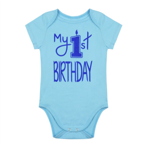 Baby 1st First Birthday Romper Infant Girl Boy Cake Smash Bodysuit Party Outfit
