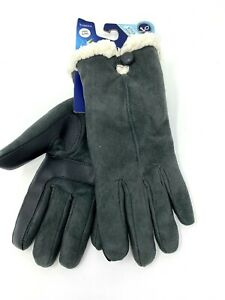 Isotoner Women's Gloves Suede Gray Lined Gloves Smartscreen NWT S/M $42