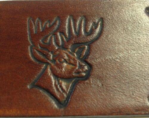 Mens Leather Belt Deer Hand Stamped Design USA MadeChoose Size