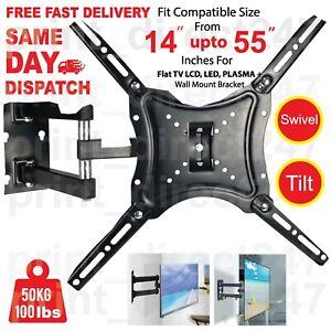 TV-Wall-Bracket-Tilt-Swivel-Mount-for-14-22-28-20-32-37-40-42-43-50-55-Inch-LCD