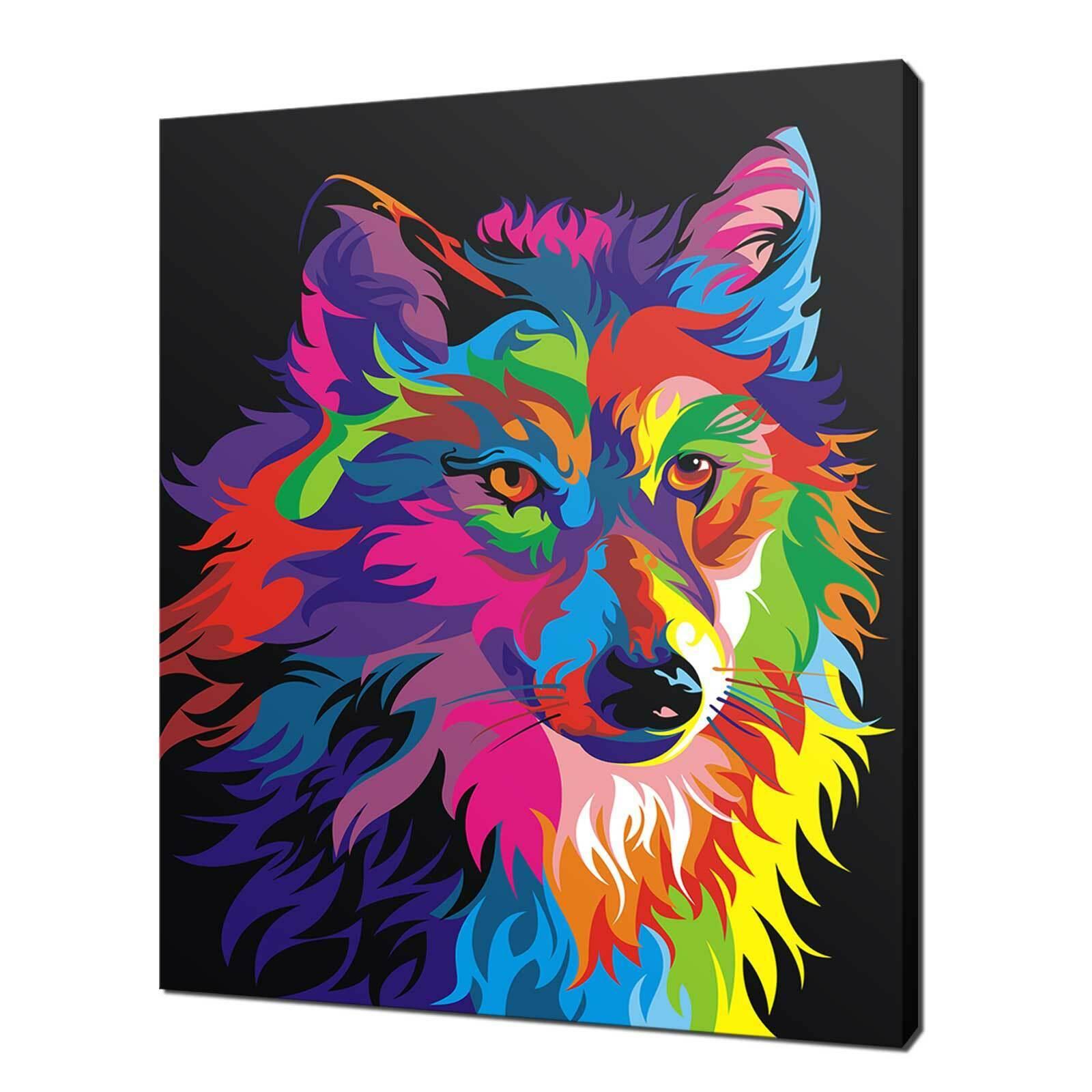 LUPO Coloreeeata in Tela Stampa Immagine Animali Wall Art libero consegna veloce