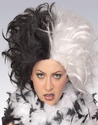 Ms Spot Cruella De Vil Deville Vampire Rock Star Black And White Halloween Wig