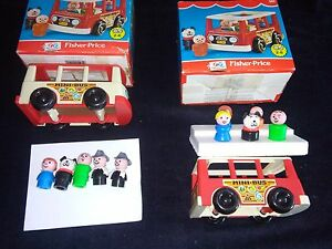 2-Fisher-Price-Mini-Bus-Van-Vintage-con-5-personaggi