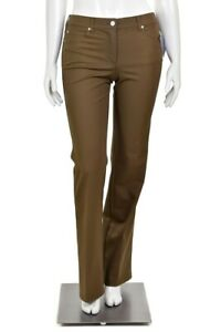 Escada-Olive-Brown-Stretch-Cotton-Mid-Rise-Bootcut-Jeans-size-8-x-34-034-Long