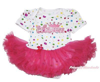 White Rainbow Dot Baby Dress Romper Jumpsuit PRINCESS Hot Pink Skirt NB-12Month