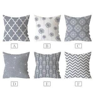 Geometric-Decorative-Cushion-Cover-Polyester-Pillowcase-Sofa-Home-18-18Inch-Gray