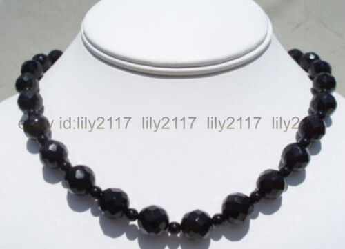 """Fashion 10 mm 4 mm Black Faceted Round AGATE pierres précieuses Perles Collier 18/"""""""