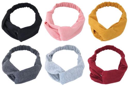 Yoga Twisted Knotted Ribbed Turban Elastic Hair Band Headband