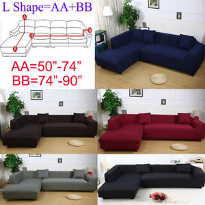 Details about 2 Seats 3 Seats Plush Stretch Sure Fit L-shaped / Sectional  Sofa Slip Covers Set